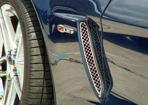 C6 Corvette Stainless Diamond Laser Mesh Side Vent Grilles