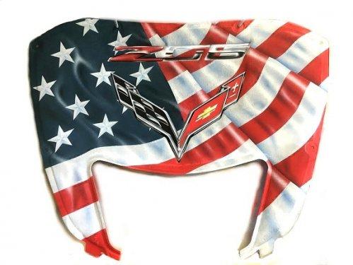 C7 Corvette Z06 Custom Airbrushed American Flag Design Hood Liner