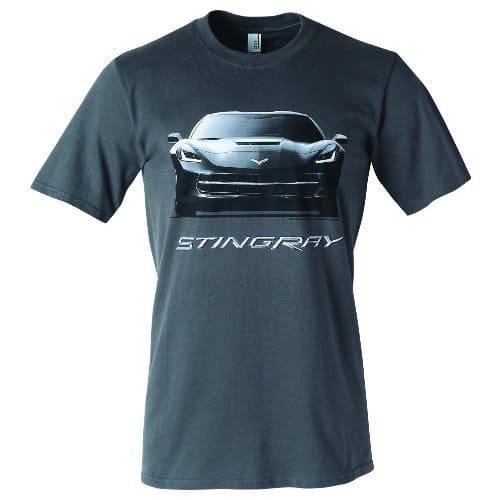 C7 Corvette Stingray T-Shirt Front View Charcoal