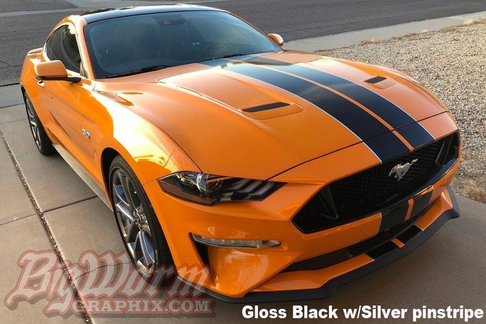 Matte Black Mustang >> 2018-2019 Mustang Narrow Twin Full Length Stripes Kit ...