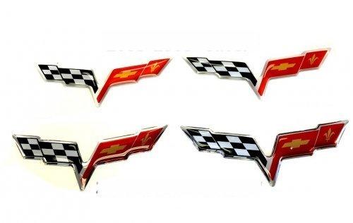 C6 Corvette Flag Emblem Domed Decal Kit - SouthernCarParts.com