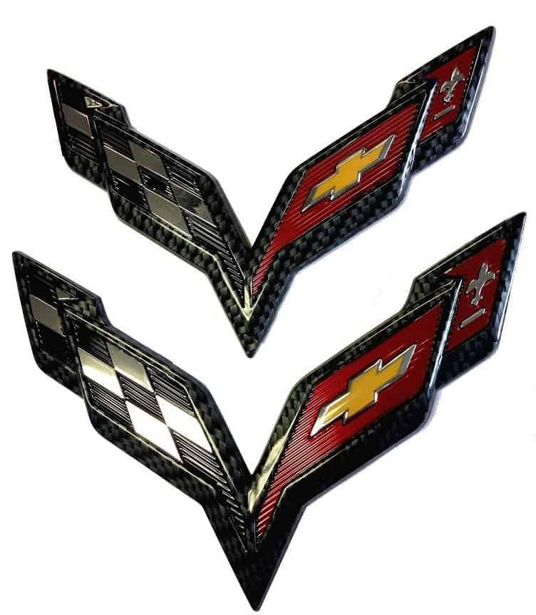 Chevrolet GM Corvette 2014-2018 C7 Emblem Flag Crossed Flag