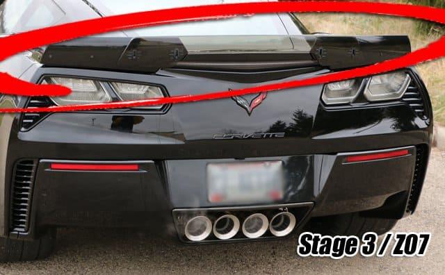 2014 2018 C7 Corvette Z06 Z07 Stage 3 Style Painted Rear Spoiler