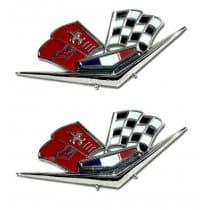 C1 1962-1963E Corvette Front Fender Budget Cross Flags Emblems Pair