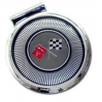 1966 C2 Corvette Gas Lid Door Assembly Upper LH Corner of Flag is Black