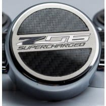 C7 Corvette ZO6 Engine Caps with ZO6 Supercharged Emblem Real Carbon Fiber For Manual Transmission 053094