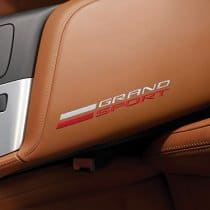 C7 Corvette GM Kalahari Leather Embroidered Grand Sport Logo Console Lid