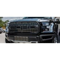 2017  Ford Raptor Front Upper Grille Overlays Factory Style Polished or Brushed Stainless Steel 2pc