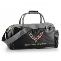 C7 Corvette Black and Grey Leather Duffel Bag