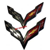 C7 Corvette Carbon Fiber Crossed Flag Emblems