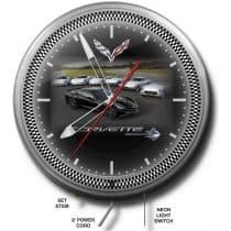 "C7 Corvette Neon 20"" Clock w/ C7 Corvette"