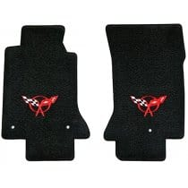 C5 Corvette Lloyd Classic Loop Front Floor Mats Red Logo