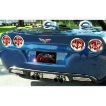 C6 Corvette Polished Stainless Flame Style Taillight Covers