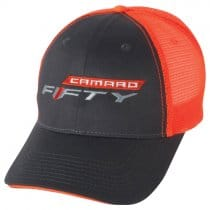 "2016-2018 Camaro ""Fifty"" Neon Baseball Cap Orange and Black"