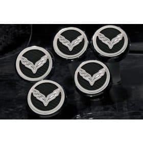 2014-2019 C7 Corvette Stingray Engine Caps w/Crossed Flag Logo