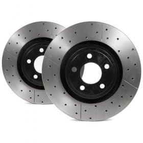 2015-2019 Ford Mustang GT DBA Street Series Rotor - Cross Drilled/Slotted Uni-Directional Rotor Front