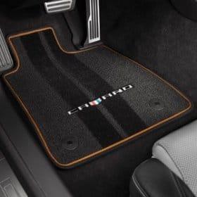 2016-2018 Camaro Premium Floor Mats Camaro Logo and Mojave Binding