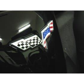C6 2005-2013 Corvette American Flag Emblem Inserts