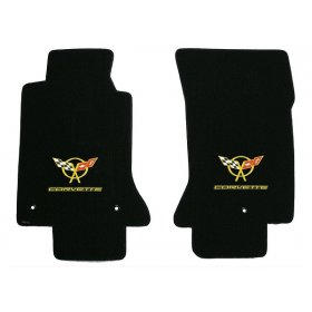 C5 Corvette Lloyd Classic Loop Front Floor Mats with Yellow Emblem