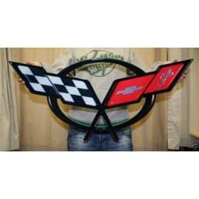 "C5 Corvette Cross Flags 32""x15"" Metal Wall Hanging Sign"
