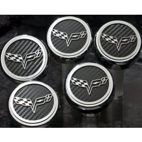 C6 Corvette Engine Caps - Carbon Fiber w/Logos