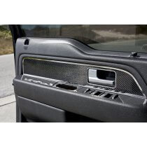 2010 - 2014 Ford Raptor F-150 Carbon Fiber Front Door Panel Inserts with Polished Trim 2pc